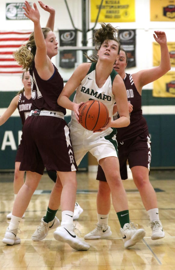 Lauren Achter, of Ramapo, eyes the basket past the heavy defense from Ridgewood, Thursday, January 10, 2019.