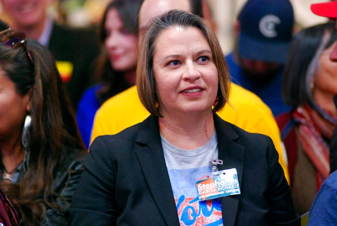 In this Thursday, Oct. 25, 2018 file photo, Stephanie Garcia Richard campaigns for state land commissioner, an office she eventually won, at a Democratic political rally in Santa Fe, N.M.