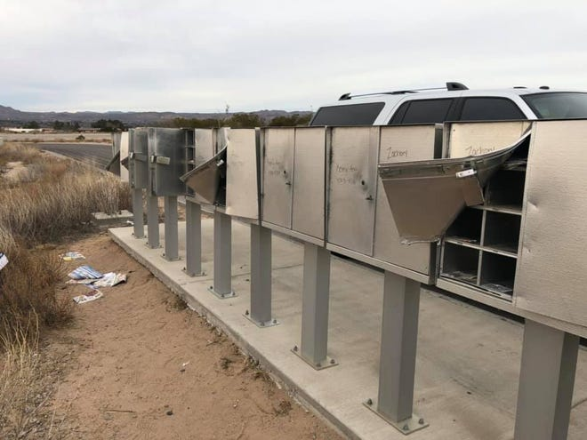 Mailboxes off Del West Boulevard in north Las Cruces are shown damaged on Tuesday, Jan. 8, 2019.