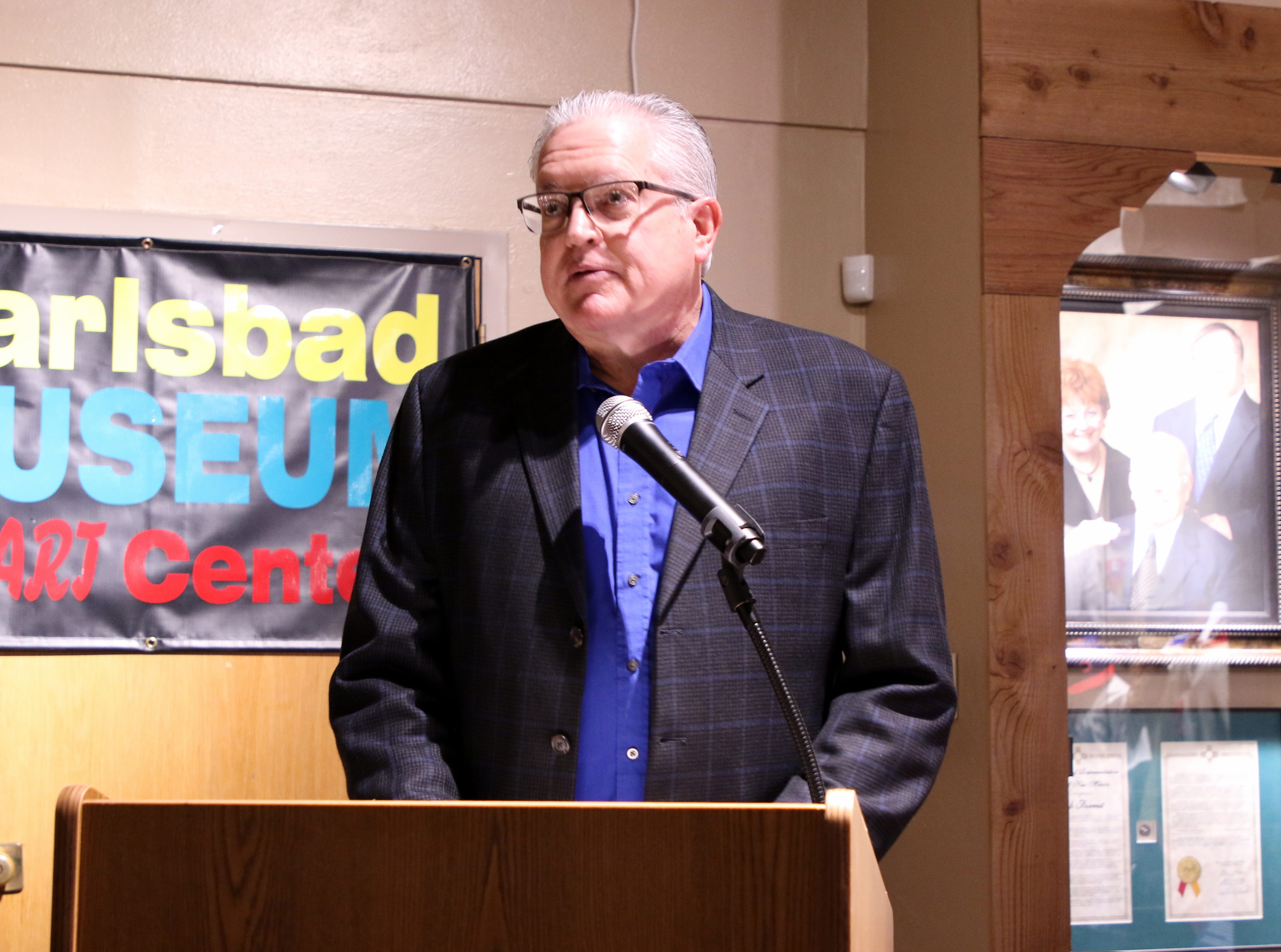 Reverend Dan Boyd gives the invocation during Friday's Carlsbad Hall of Fame Induction.