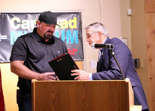 Mayor Dale Janway presents Shane Andrews with his Carlsbad Hall of Fame plaque during Friday's induction.