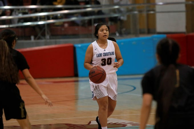 Shiprock's Sanaa Keeswood looks to pass the ball against Newcomb during Thursday's game at the Chieftain Pit in Shiprock.