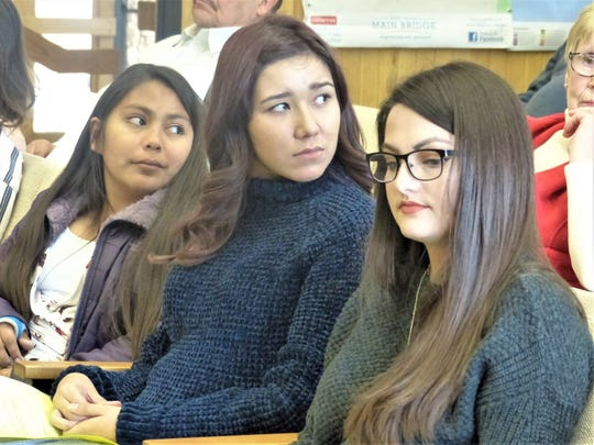 Youth Advisory Council members from left are Rose Enjady, Dylynn Blount and student liaison Sierra Baca.