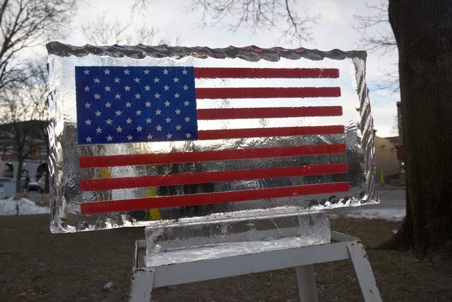 A patriotic ice carving is pictured from the 2019 event.