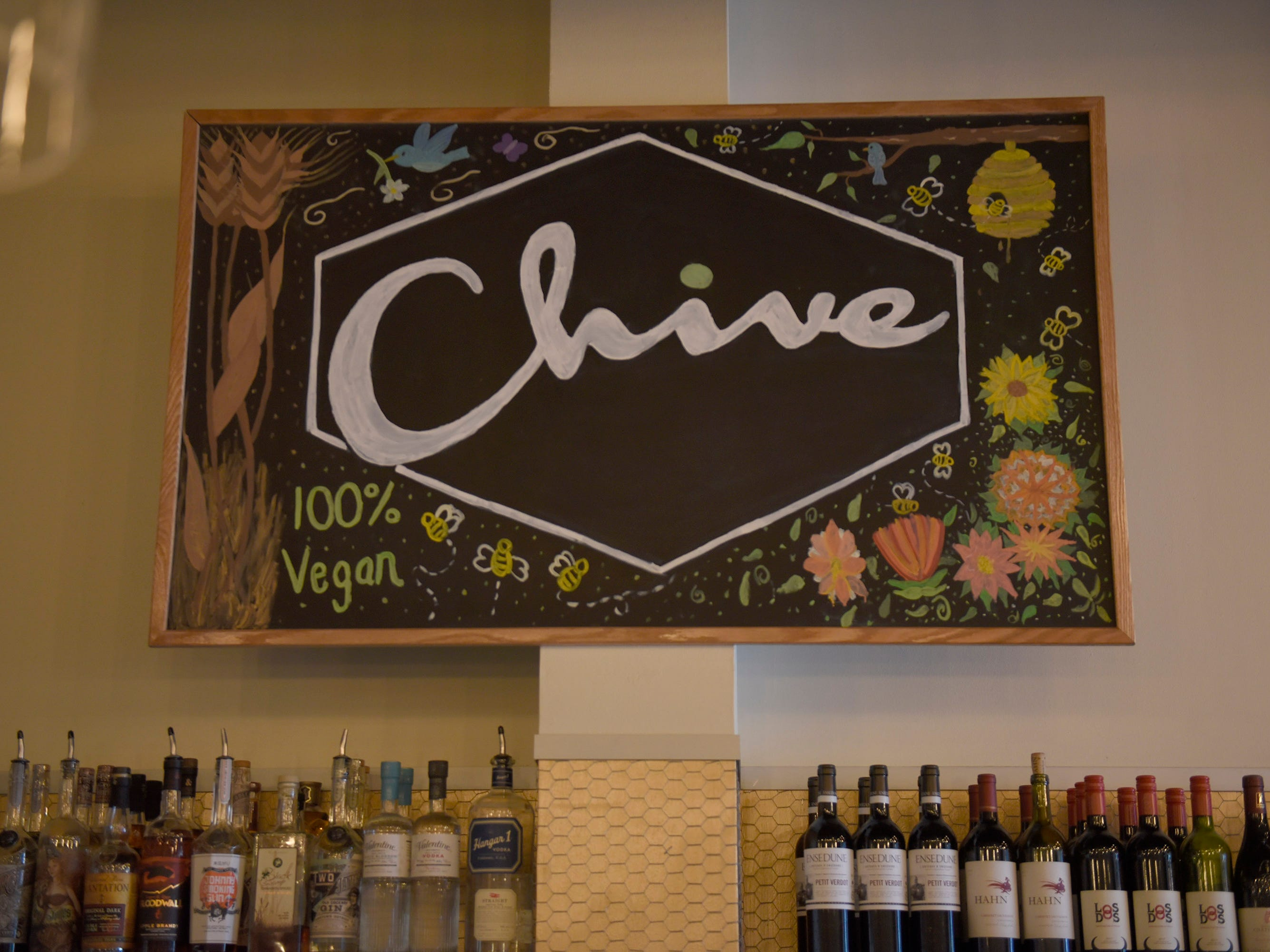 Chive Kitchen is a vegan restaurant serving locally sourced items such as Ice Cream Plant vegan ice cream and Neu Kombucha along with a variety of locally sourced spirits.