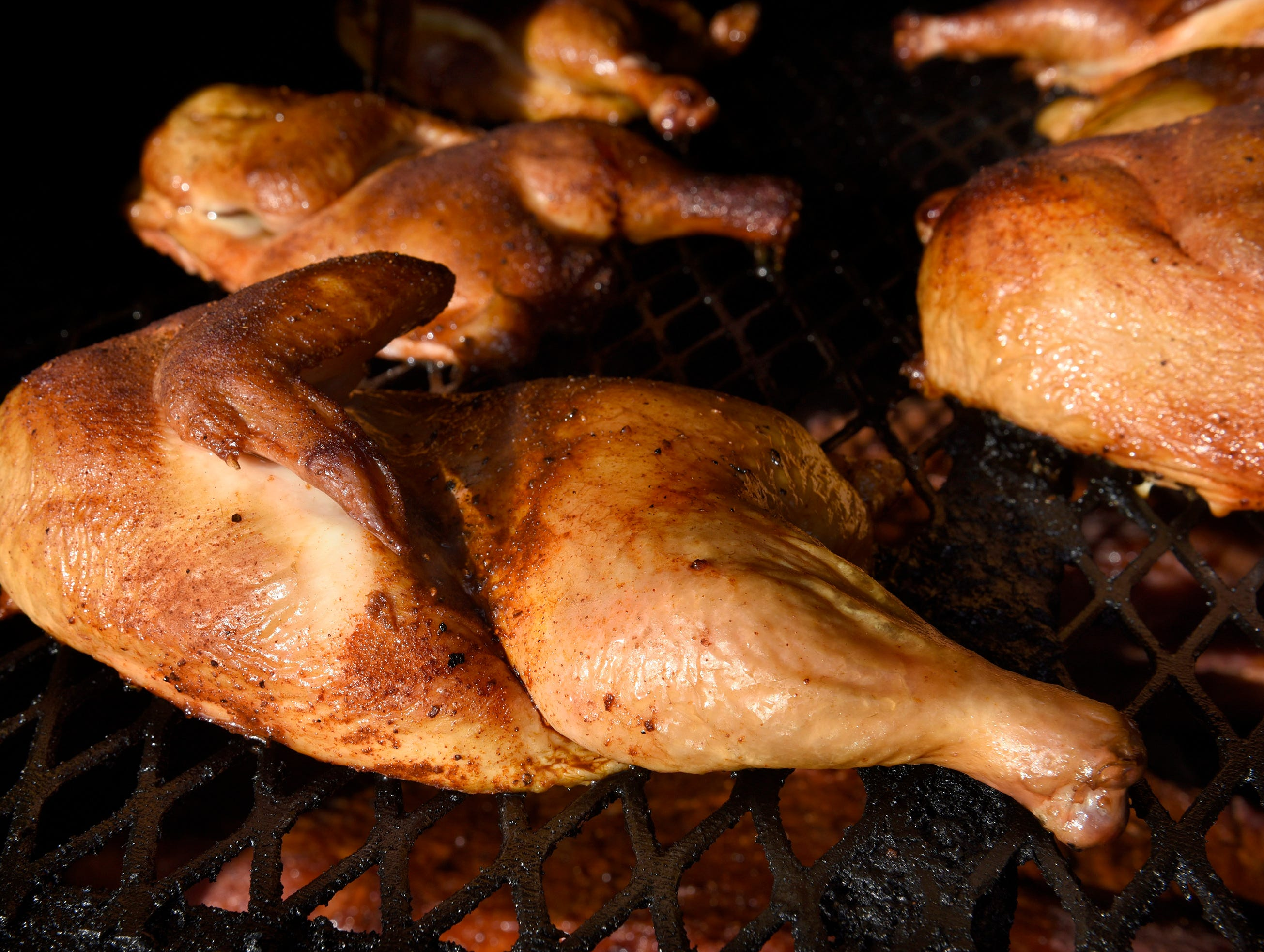Chicken on the smoker at Max and Bella's Smokehouse in Plymouth.