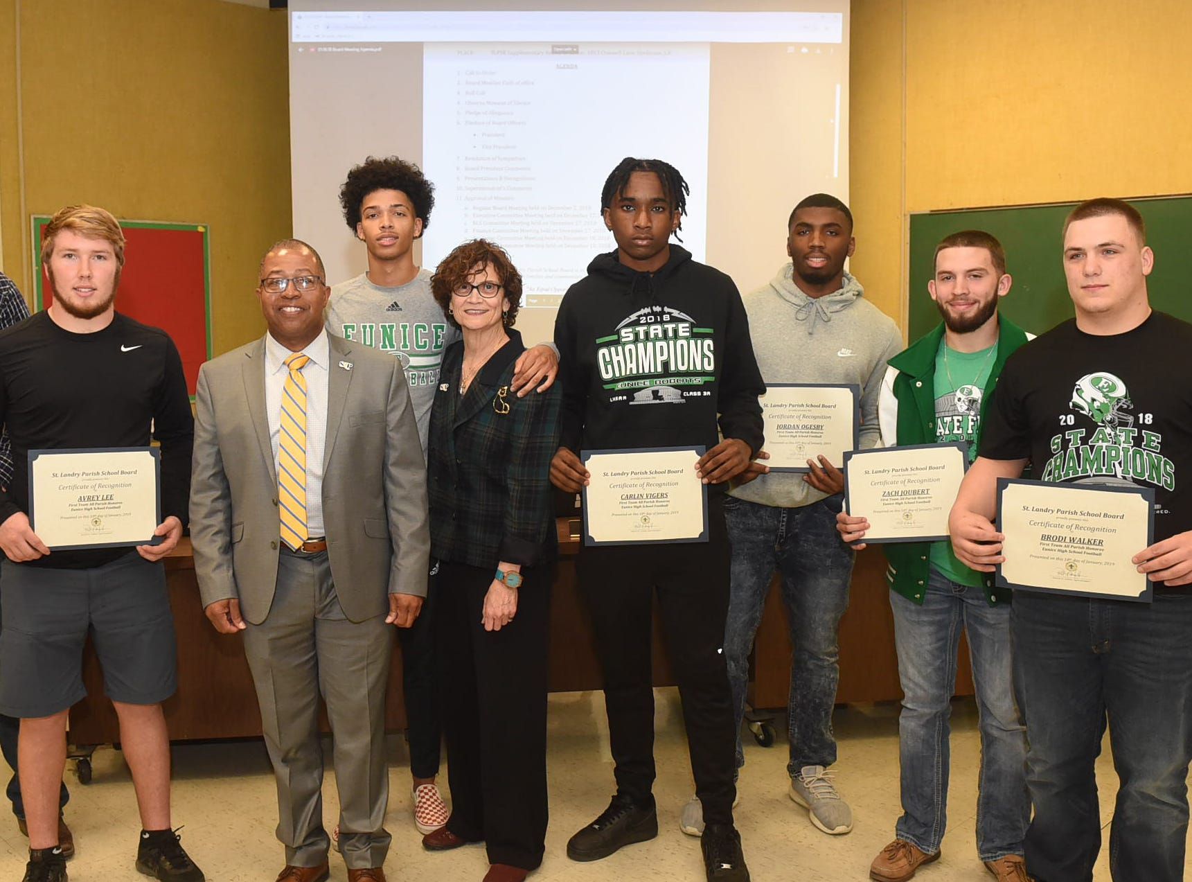 Eunice High School football team honored by the St. Landry Parish School Board.