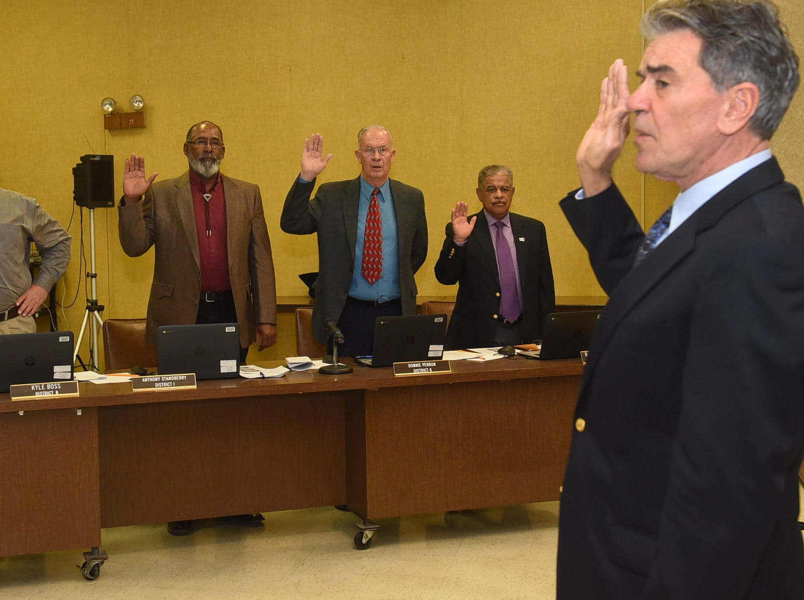 St. Landry Parish School Board members sworn in during Thursday's monthly meeting.