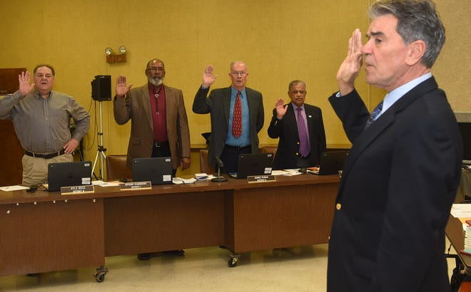 St. Landry Parish School Board members sworn in during Thursday's monthly meeting.