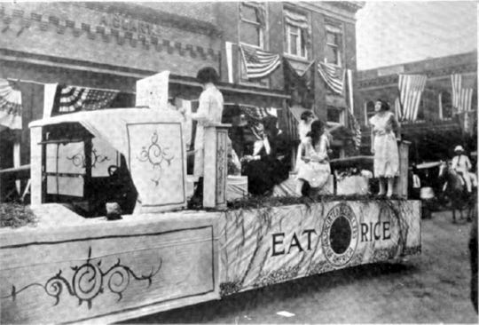One of two floats representing rice in the first Cotton Carnival held in Opelousas on Oct. 25, 1922.