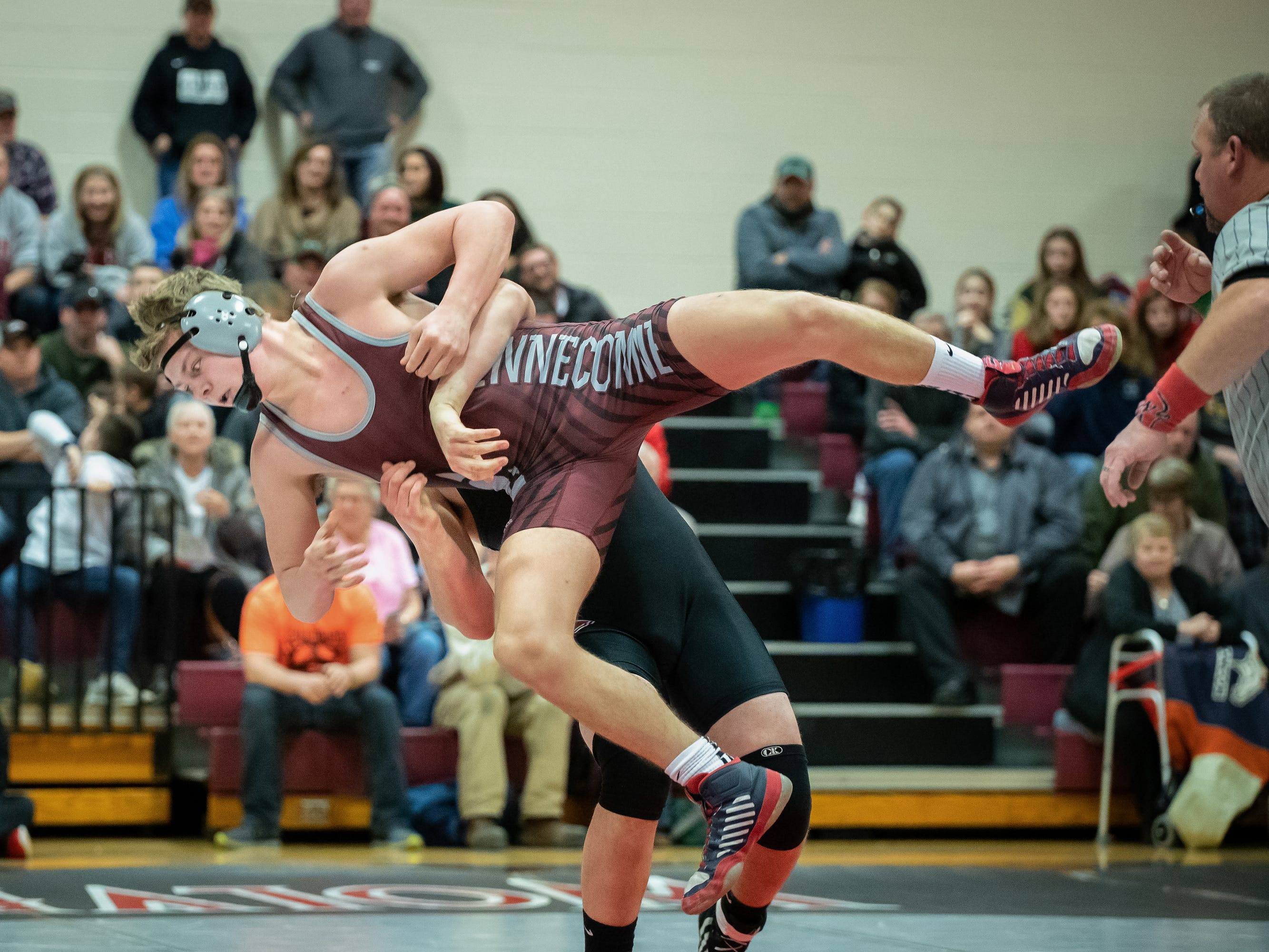 Dylan Krings of Winneconne wrestles Christopher Kurczek of Berlin in the 195-pound weight class. The Winneconne Wolves hosted the Berlin Indians in an East Central Conference wrestling match Thursday, Jan. 10, 2019.