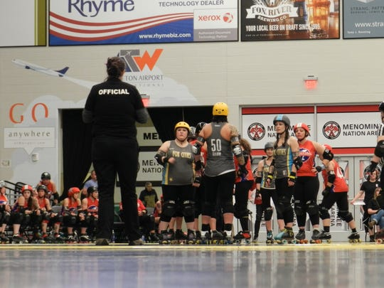 The Fox Cities Roller Derby bout against the Confluence Crushers of Illinois was the team's first bout at the Menominee Nation Arena in Oshkosh.