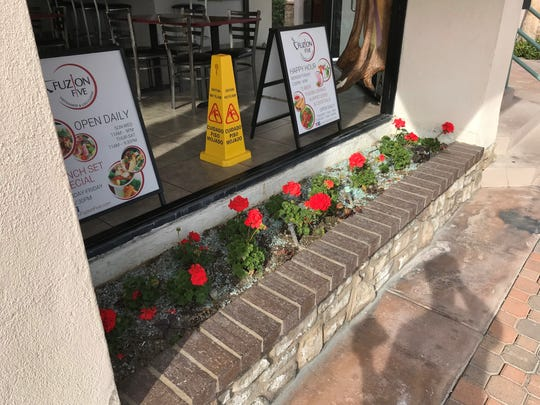 The window at Fuzion Five, at 285 S. Palm Canyon Drive, was shot out overnight and found Jan. 11, 2019. It was the restaurant's second encounter with vandals since November.
