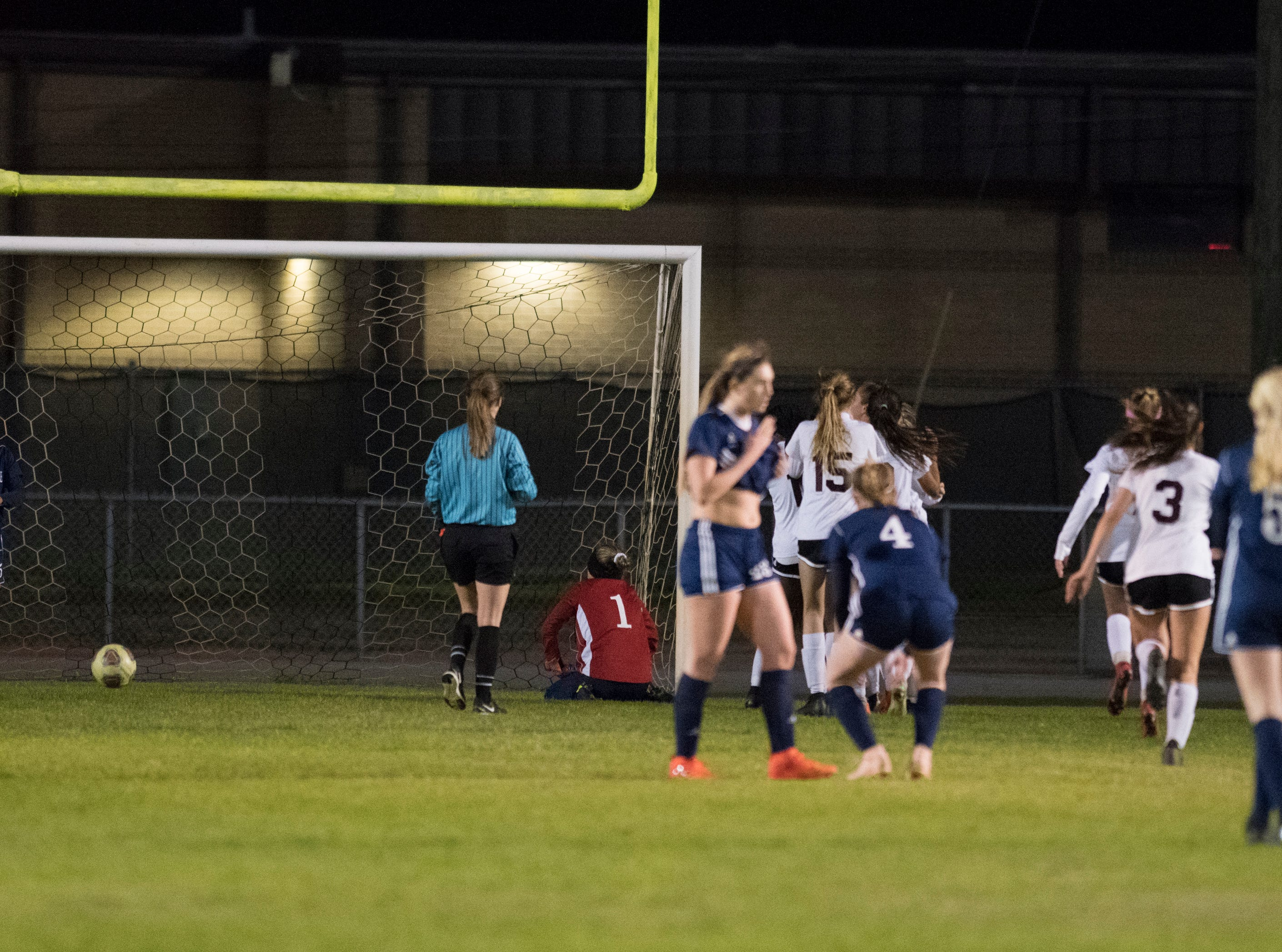 The Eagles celebrate a goal late in the second half of the Niceville vs Gulf Breeze soccer game at Gulf Breeze High School on Thursday, January 10, 2019.  The Eagles won 1-0.