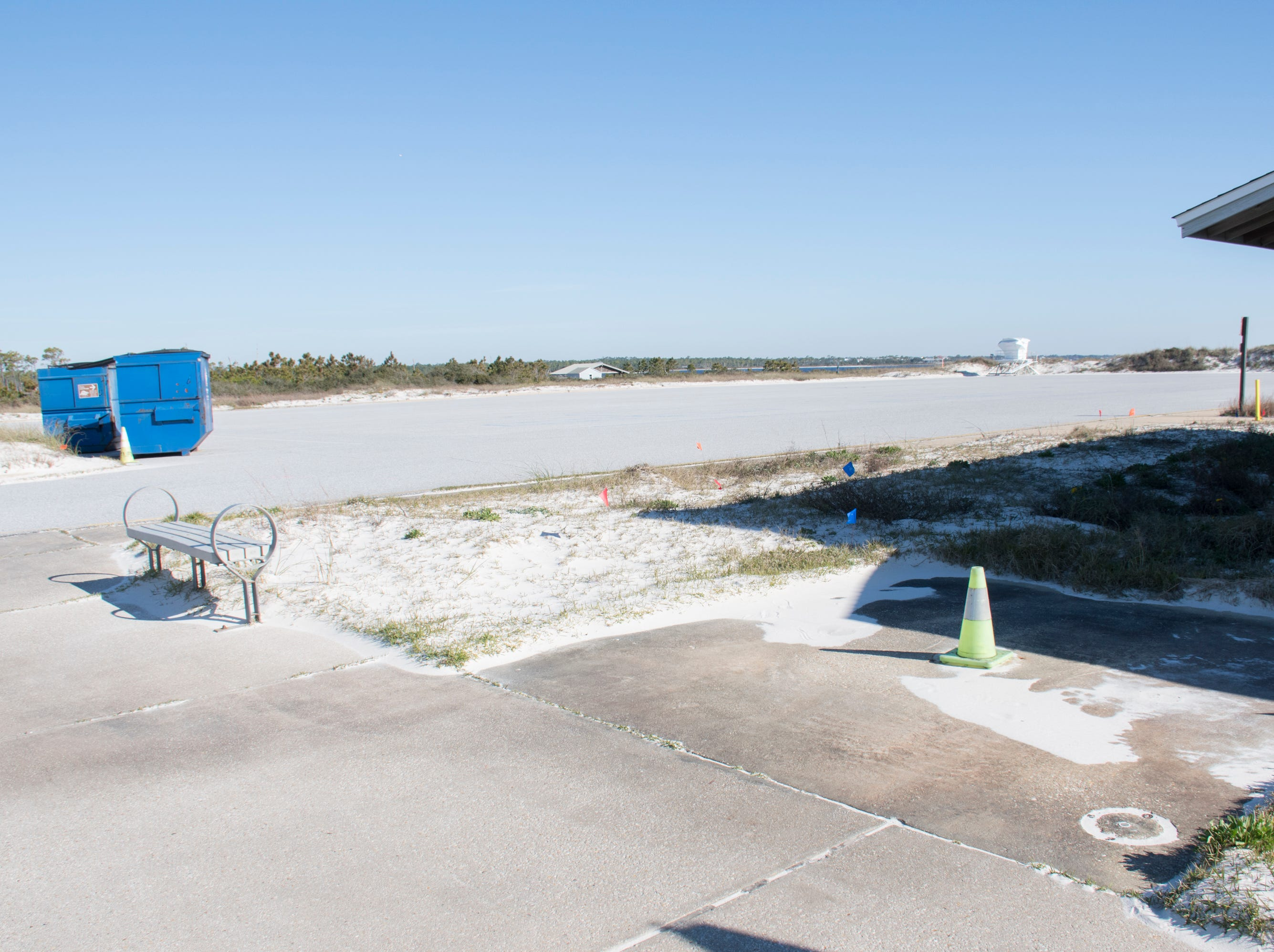 The parking lot is empty at Gulf Islands National Seashore's Rosamond Johnson Beach since the National Park in Perdido Key is closed due to the federal government shutdown on Friday, January 11, 2019.