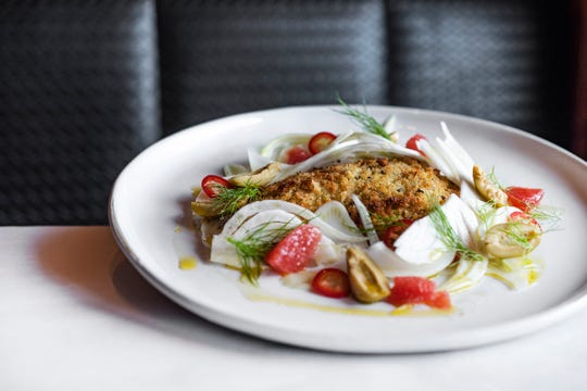 Italian oven roasted pompano with fennel and olive, courtesy of Angelena's Ristorante Italiano.