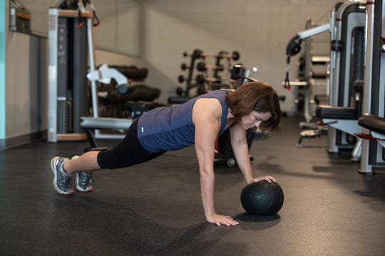 Kelly Orr - Slam Ball Staggered Pushups