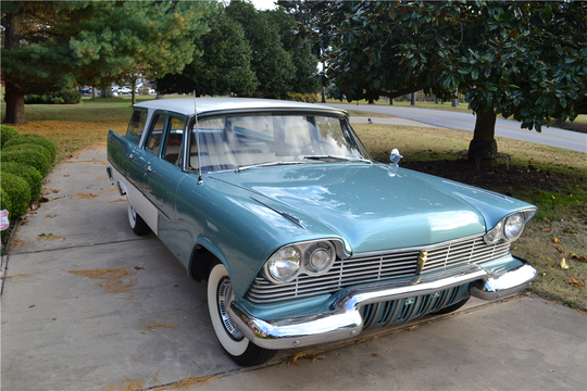 This 1957 custom Plymouth Suburban Wagon will be sold at Barrett-Jackson in Scottsdale on Monday.
