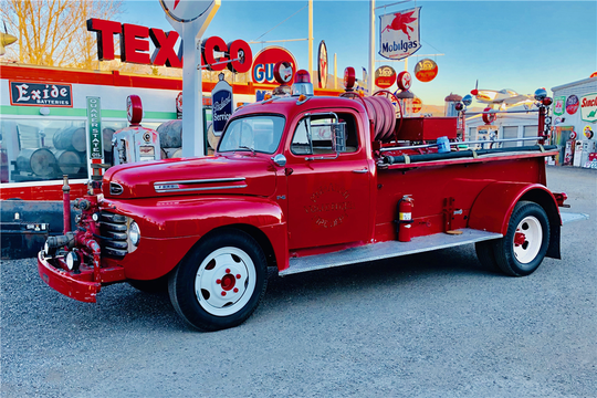 This 1948 Ford Firetruck was in service with the Monarch Volunteer Fire Department in Montana and comes with water tank, hoses, realsand a modern fire extinguisher mounted for display. The truck will be sold at Barrett-Jackson in Scottsdale on Monday.