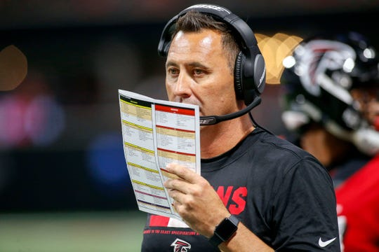Falcons offensive coordinator Steve Sarkisian calls a play during a game against the Jaguars on Aug. 31, 2017 at Mercedes-Benz Stadium.