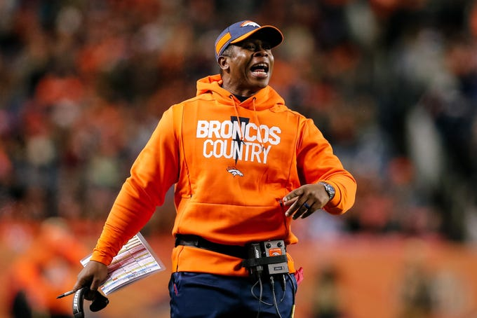 Dec 30, 2018; Denver, CO, USA; Denver Broncos head coach Vance Joseph reacts in the fourth quarter against the Los Angeles Chargers at Broncos Stadium at Mile High.