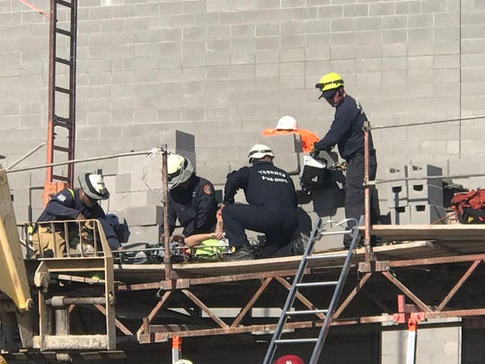 Fire crews respond to a construction accident Jan. 11, 2019, at a construction site near 37th Avenue and Osborn Road in Phoenix.