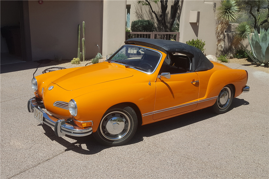 This 1974 Volkswagen Karmann Ghia Convertible will be sold at Barrett-Jackson in Scottsdale on Monday.