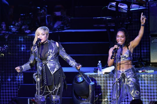 Tionne 'T-Boz' Watkins (left) and Rozonda 'Chilli' Thomas of the music group 'TLC' perform onstage during the I Love The 90s The Party Continues at The Greek Theatre on July 14, 2017, in Los Angeles, California.