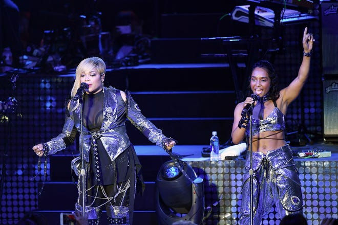 Tionne 'T-Boz' Watkins (left) and Rozonda 'Chilli' Thomas of TLC perform at The Greek Theatre on July 14, 2017, in Los Angeles. TLC will headline the Nashville Pride Festival later this summer.