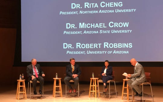University of Arizona president Robert Robbins, Arizona State University president Michael Crow and Northern Arizona University president Rita Cheng discuss the state of Arizona's universities on Jan. 11, 2019. Todd Sanders (far right), CEO and President of the Greater Phoenix Chamber of Commerce moderated.