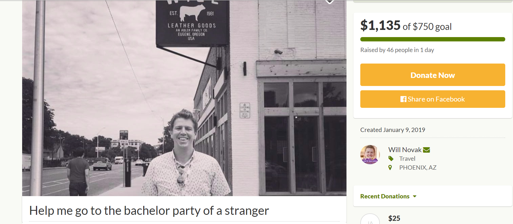 He was accidentally invited to a stranger's bachelor party. Now, GoFundMe is helping him attend