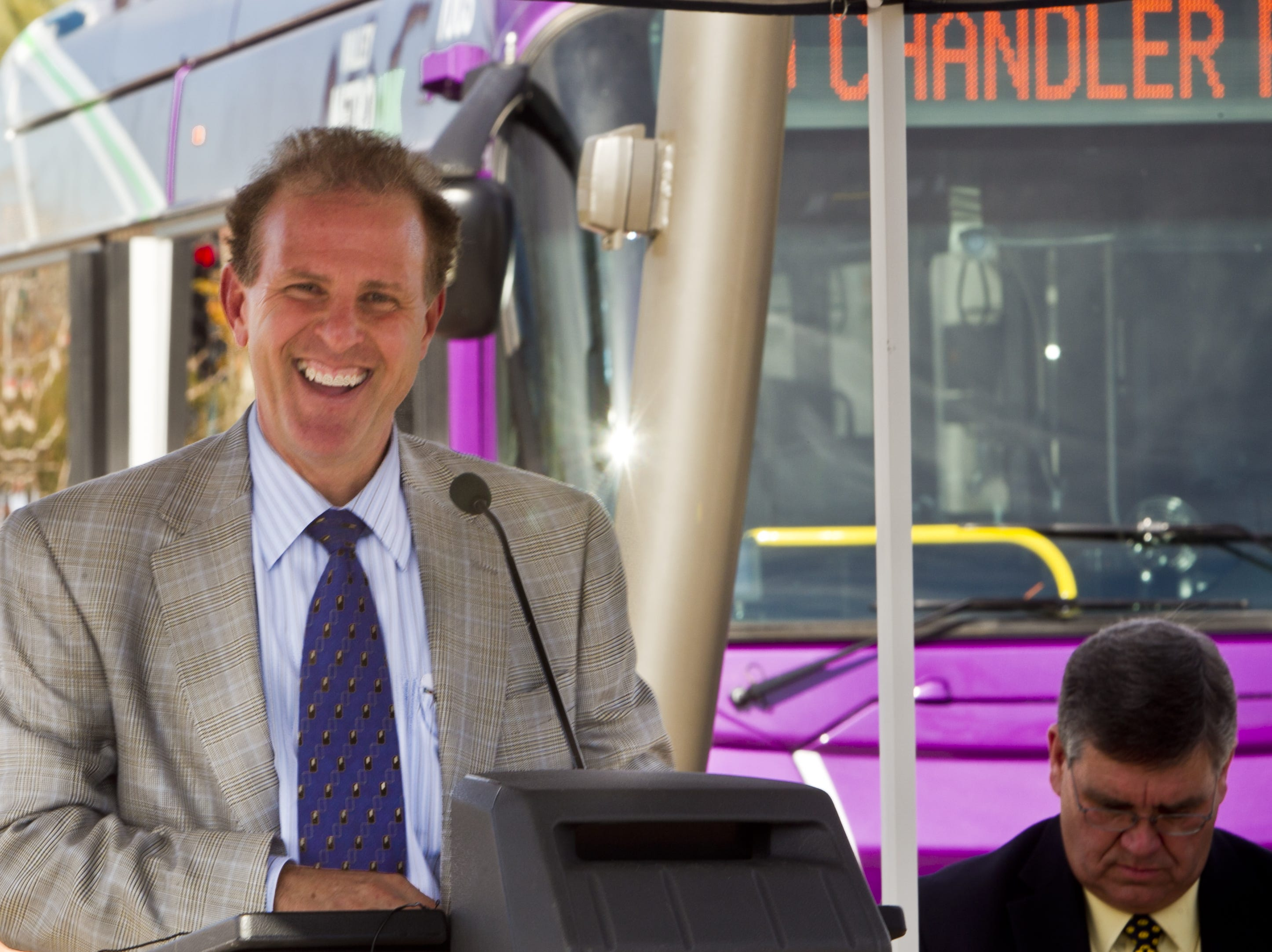 Chandler Mayor Jay Tibshraeny speaks at the dedication ceremony of the LINK bus service in downtown Chandler on Jan. 19, 2011. The bus line will connect Chandler and Gilbert, starting at the Tumbleweed Park, to the east end of the Valley Metro Light Rail in Mesa.