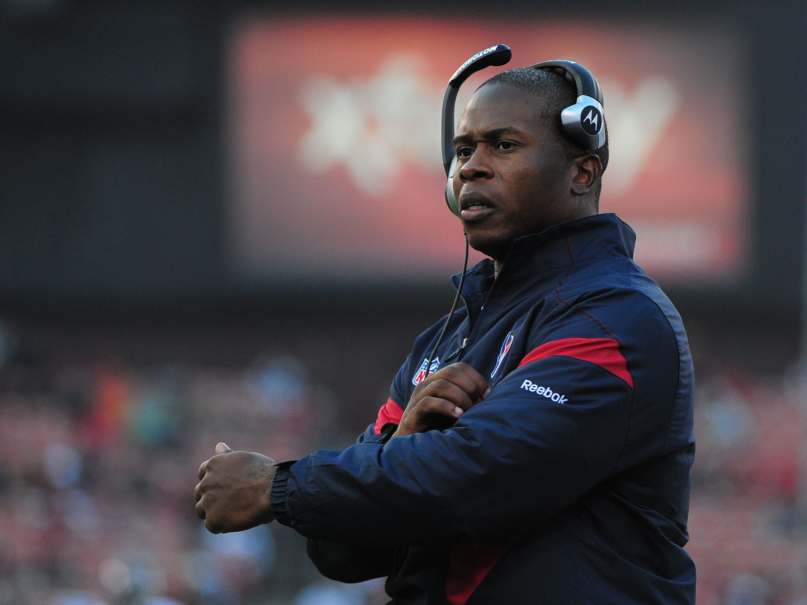 August 27, 2011; San Francisco, CA, USA; Houston Texans defensive backs coach Vance Joseph watches from the sidelines during the third quarter against the San Francisco 49ers at Candlestick Park. The Texans defeated the 49ers 30-7.