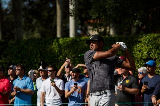 Dec 7, 2018; Naples, FL, USA; Tony Finau tees off during round one of the 30th annual QBE Shootout Pro at Tiburón Golf Club. Mandatory Credit: Srijita Chattopadhyay/Naples Daily News via USA TODAY NETWORK