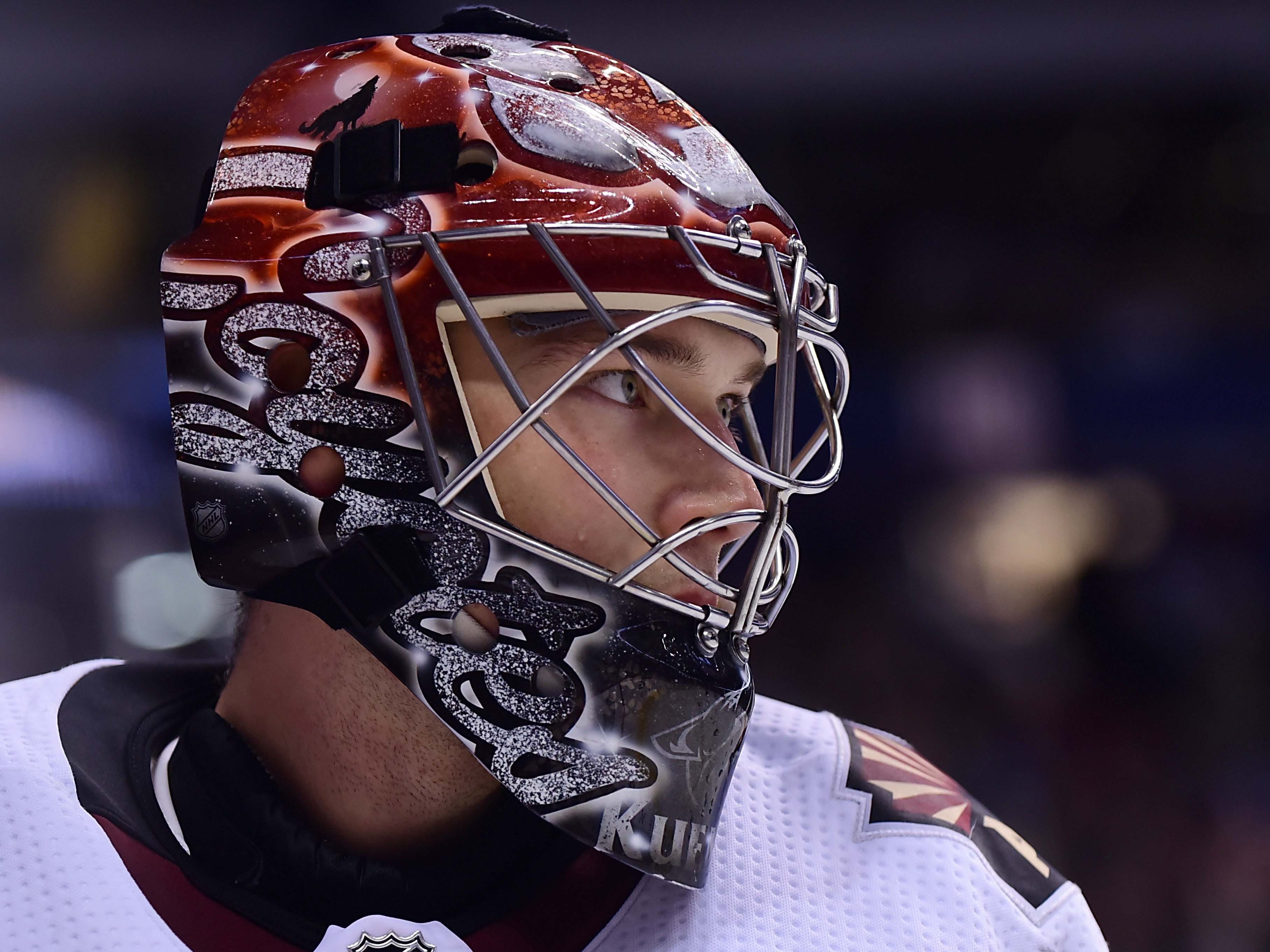 Jan 10, 2019; Vancouver, British Columbia, CAN; Arizona Coyotes goaltender Darcy Kuemper (35) awaits the start of play against the Vancouver Canucks  during the first period at Rogers Arena. Mandatory Credit: Anne-Marie Sorvin-USA TODAY Sports