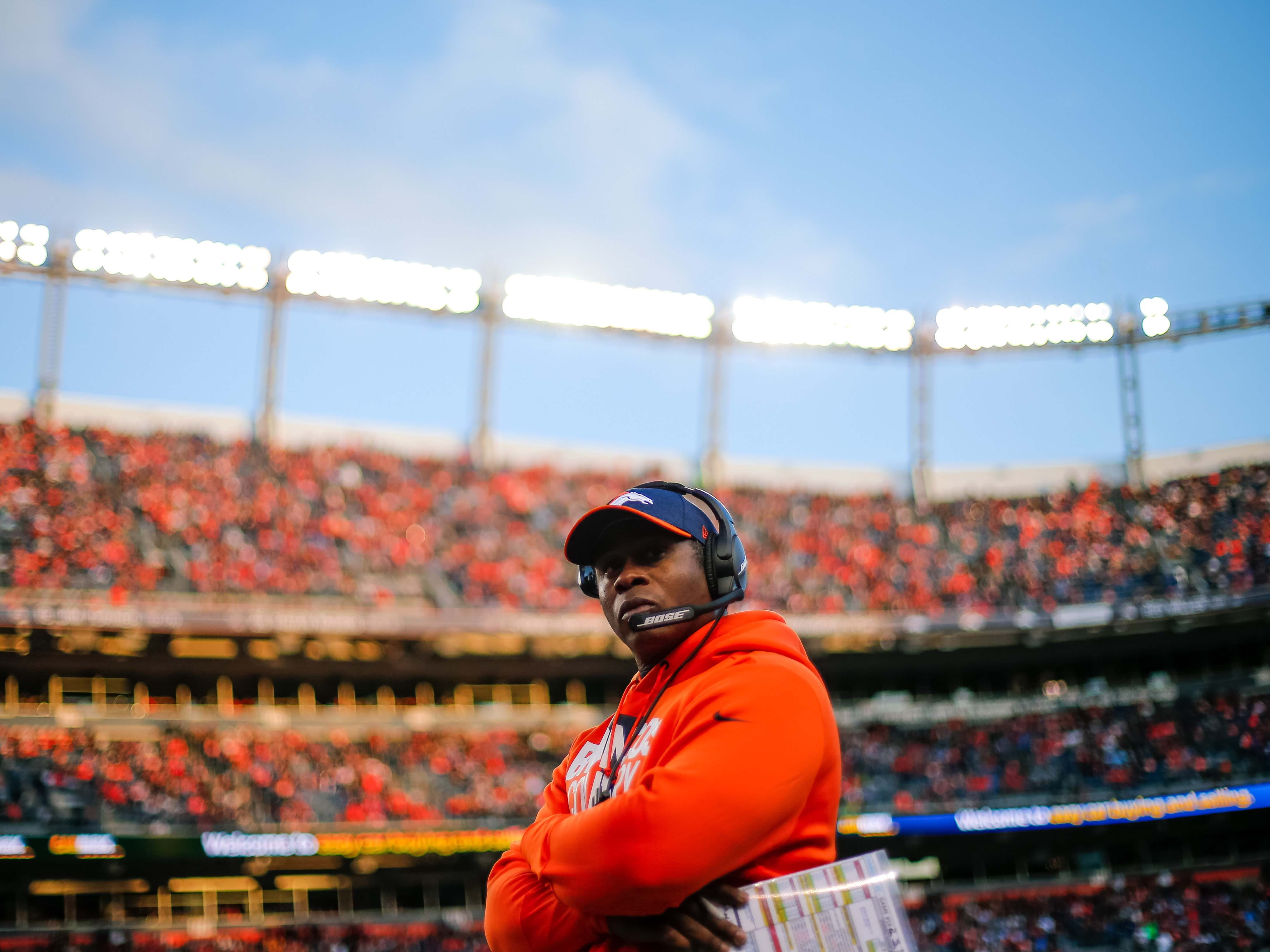 Dec 30, 2018; Denver, CO, USA; Denver Broncos head coach Vance Joseph in the third quarter against the Los Angeles Chargers at Broncos Stadium at Mile High.