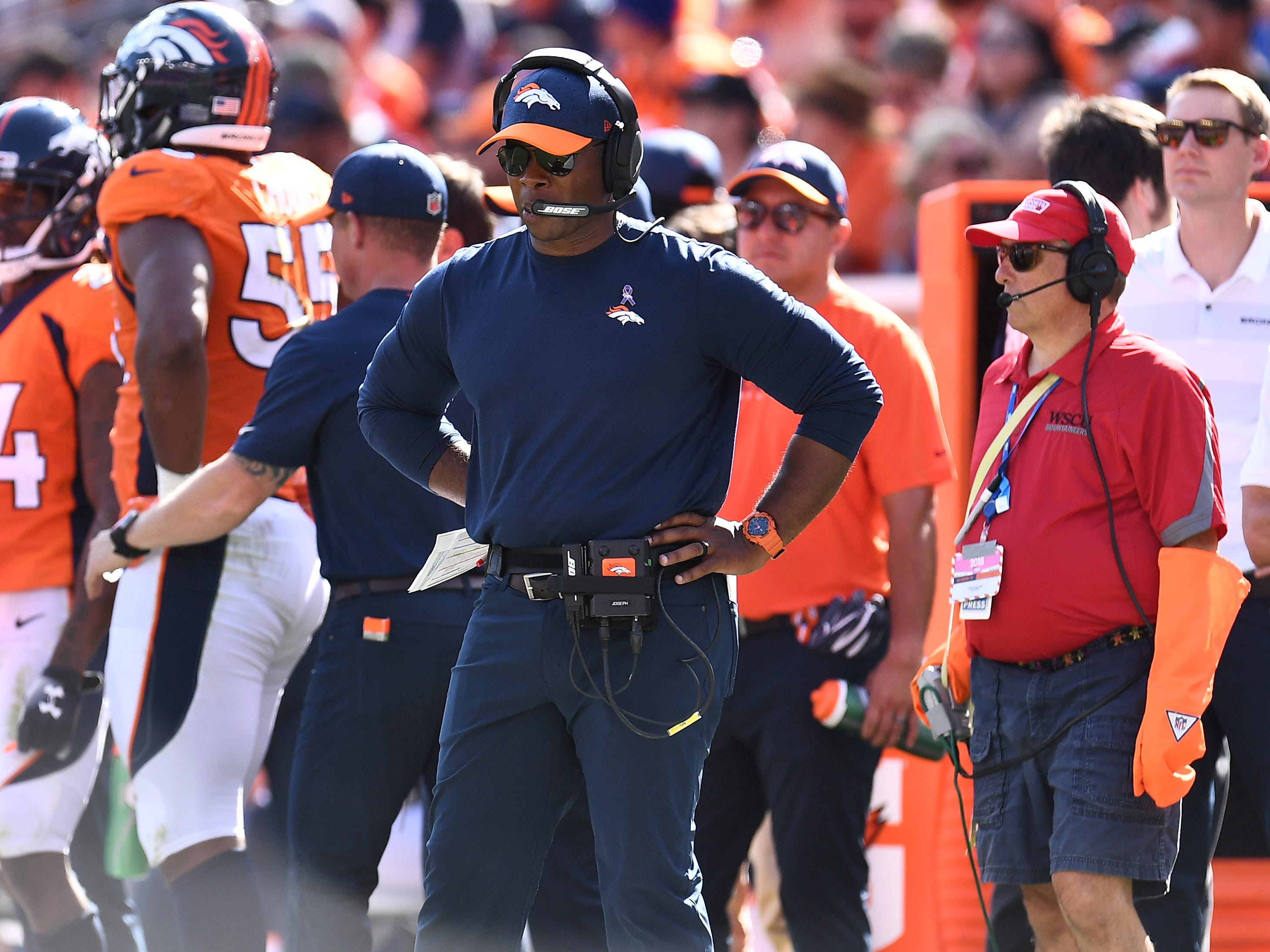 Sep 16, 2018; Denver, CO, USA; Denver Broncos head coach Vance Joseph on the sidelines in the second quarter against the Oakland Raiders at Broncos Stadium at Mile High.