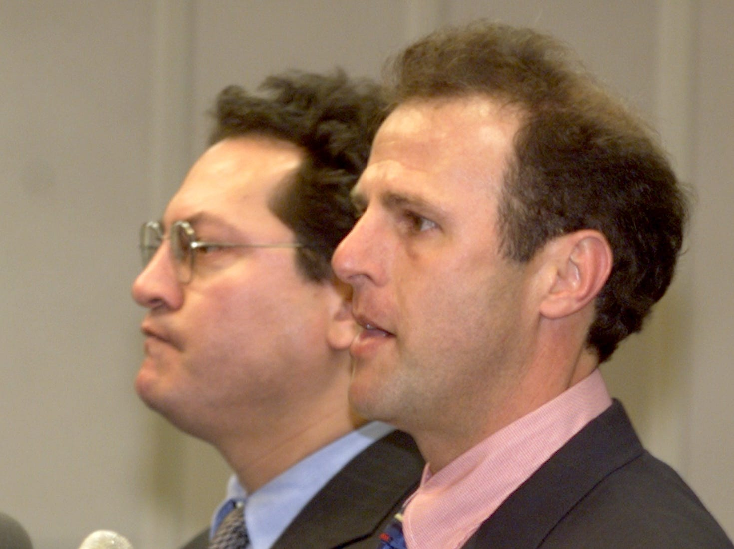 Chandler Mayor Jay Tibshraeny, right, and Attorney Stephen Montoya announce a $400,000 settlement of a $35 million civil-rights lawsuit on Feb. 10, 1999. The suit against the city, stemmed from an immigration roundup in 1997.