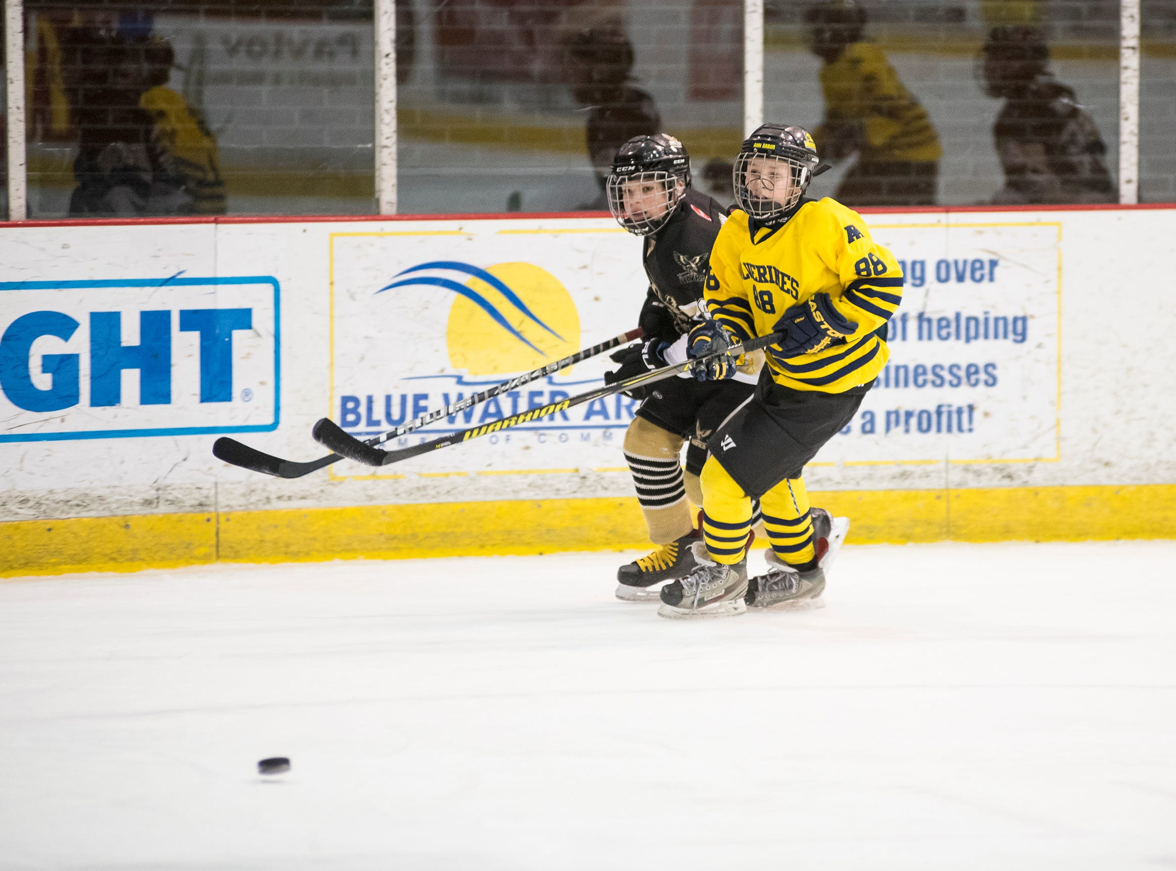 Ann Arbor Wolverines forward Tyson Jacobs (88) and Quinte West Hawks forward Bryce Davy skate after the puck during their Silver Stick Finals PWA match Thursday, Jan. 10, 2019 at McMorran Arena.
