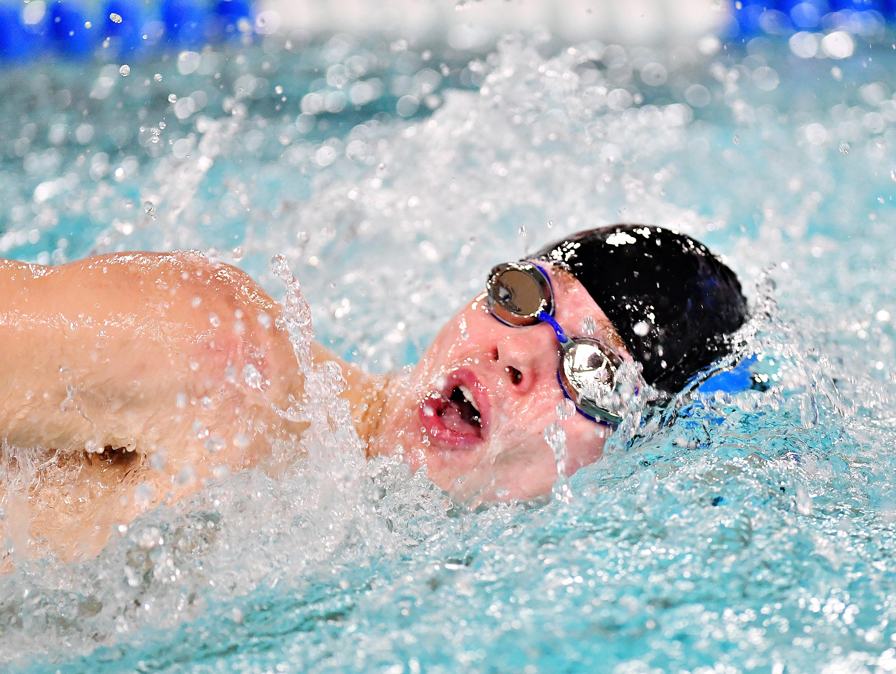 Dallastown's William Cornish competes in the 500 Yard Freestyle event during swimming action against Central York at Dallastown Area High School in York Township, Thursday, Jan. 10, 2019. Dawn J. Sagert photo