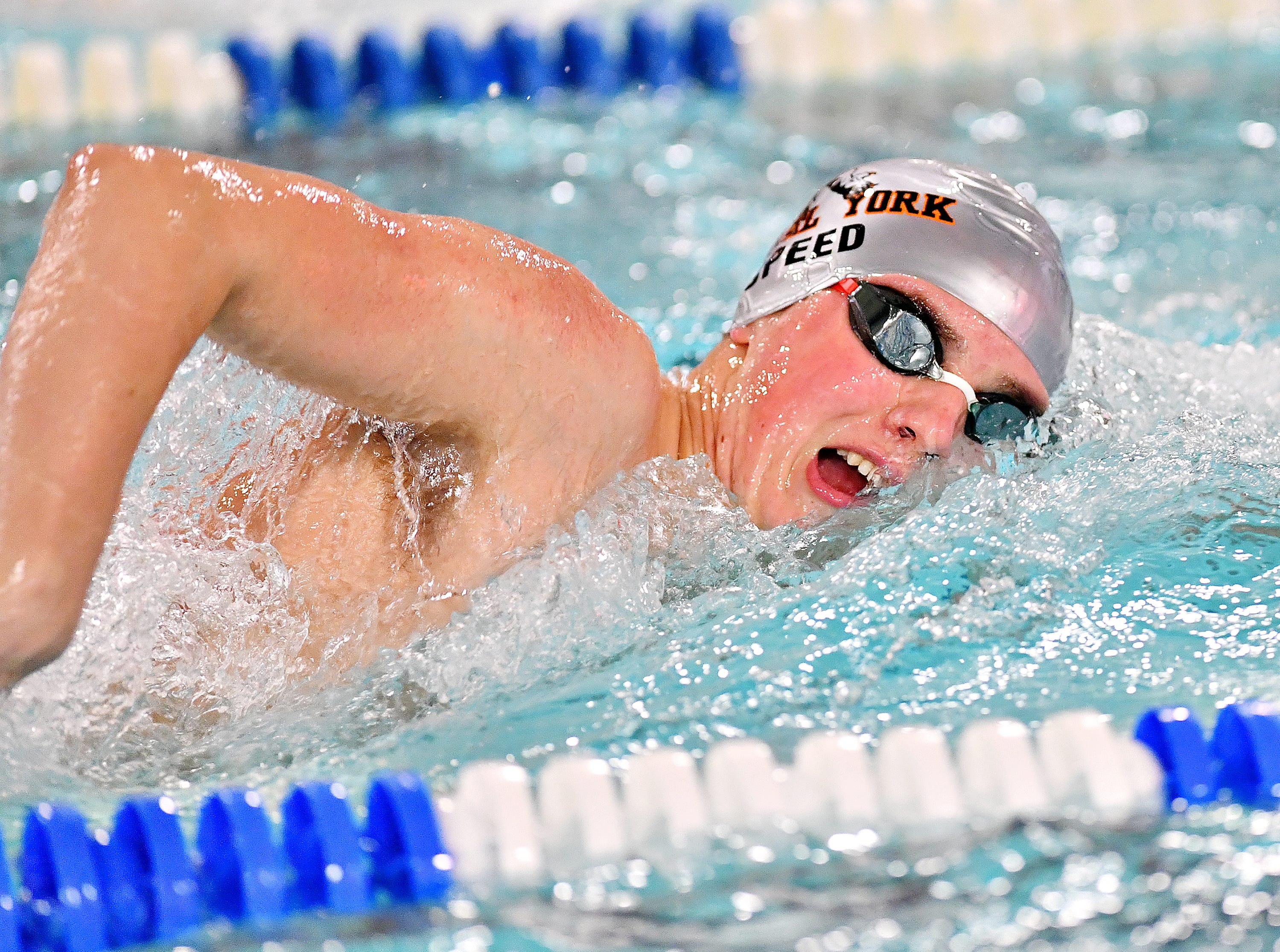 Central York's Cameron Speed wins the 500 Yard Freestyle event at 5:00.91 during swimming action against Dallastown at Dallastown Area High School in York Township, Thursday, Jan. 10, 2019. Dawn J. Sagert photo
