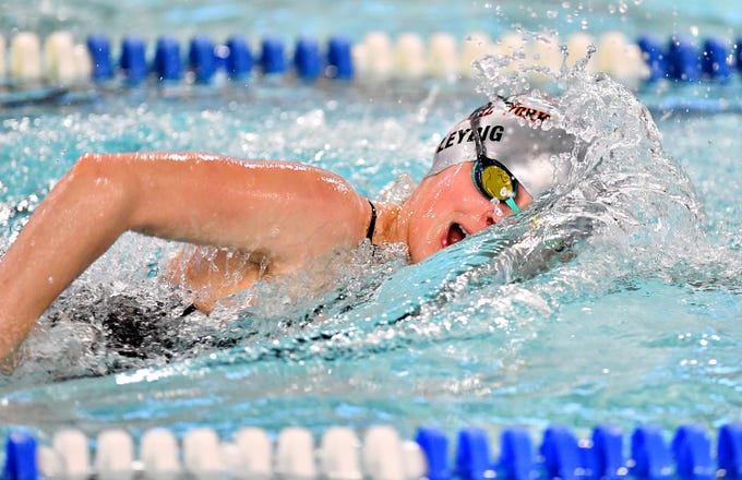 Central York's Camryn Leydig wins the 200 Yard Freestyle event at 2:01.20 during swimming action against Dallastown at Dallastown Area High School in York Township, Thursday, Jan. 10, 2019. Dawn J. Sagert photo