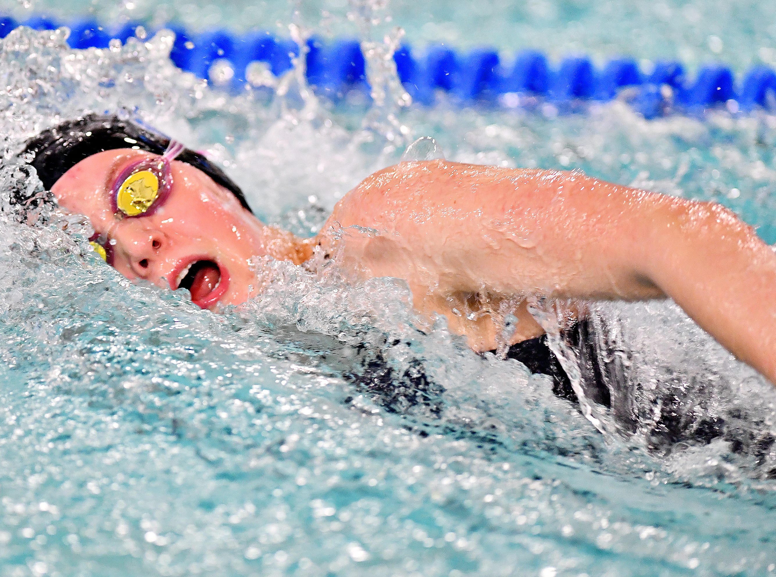 Dallastown's Samantha Trumble wins the 50 Yard Freestyle event at 25.58 during swimming action against Central York at Dallastown Area High School in York Township, Thursday, Jan. 10, 2019. Dawn J. Sagert photo