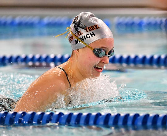 Central York's Sarah Minich wins the 100 Yard Breaststroke at 1:12.84 during swimming action against Dallastown at Dallastown Area High School in York Township, Thursday, Jan. 10, 2019. Dawn J. Sagert photo