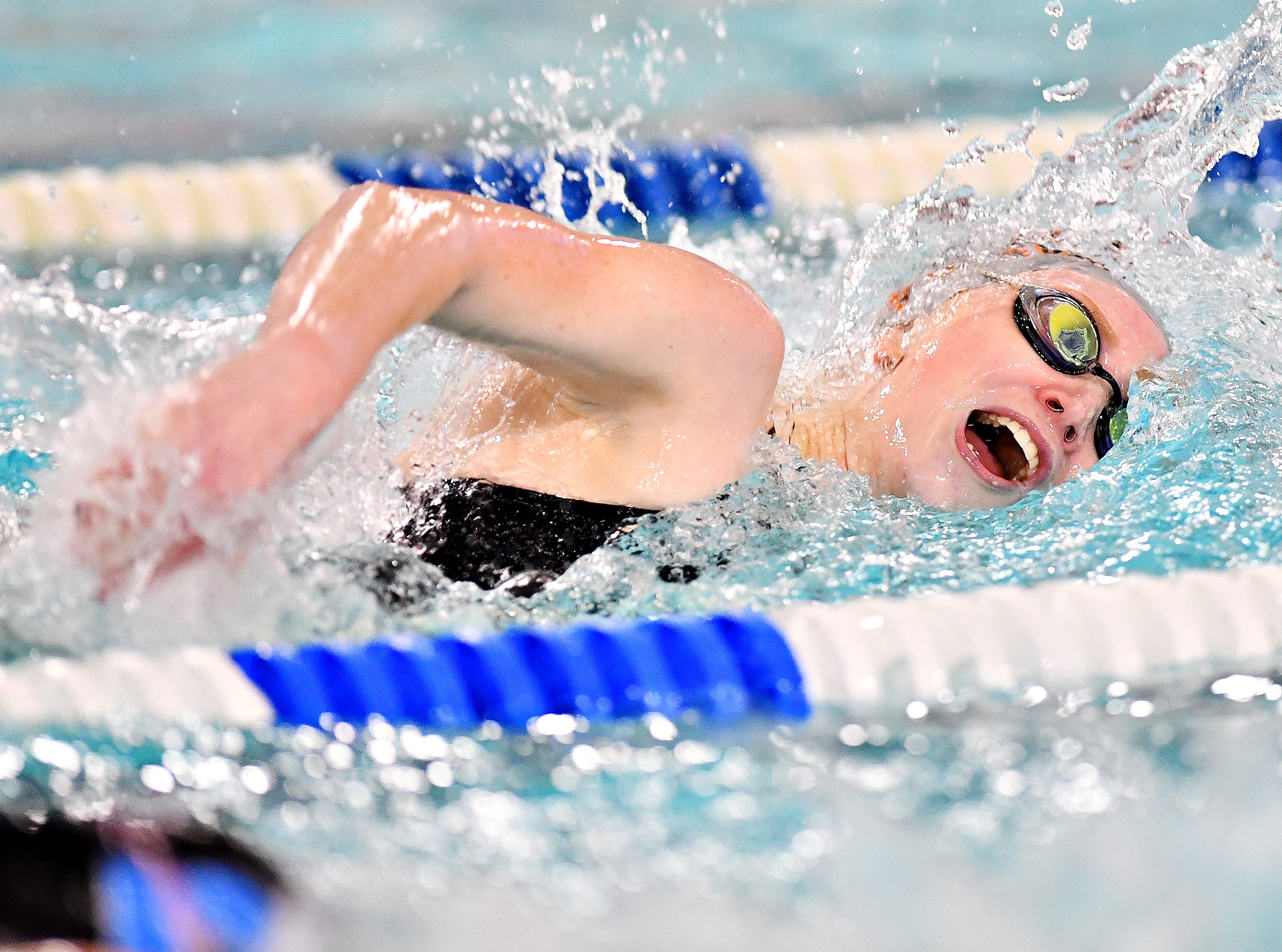 Central York's Gabby Miller wins the 100 Yard Freestyle event at 56.21 during swimming action against Dallastown at Dallastown Area High School in York Township, Thursday, Jan. 10, 2019. Dawn J. Sagert photo