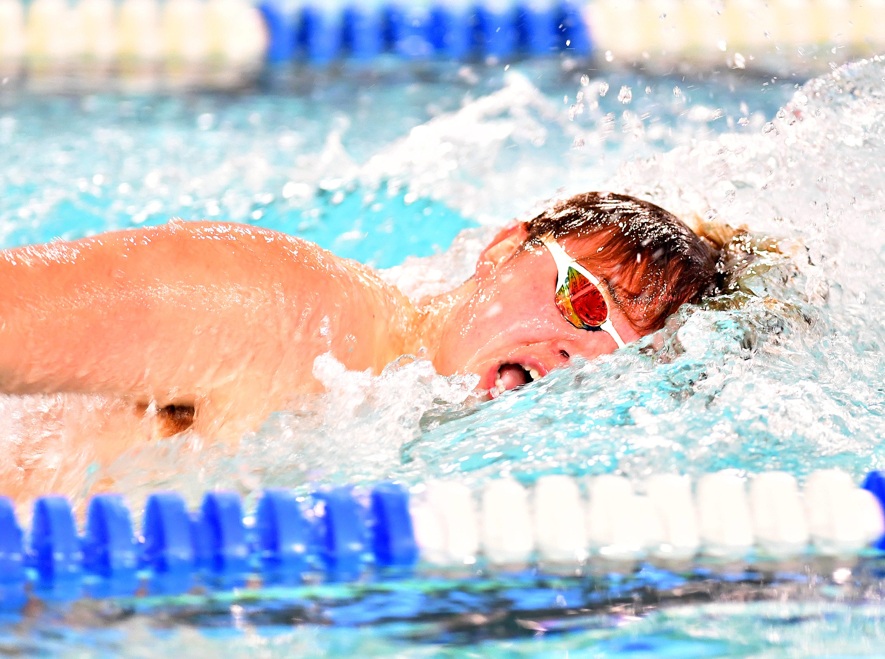Central York's Lucas Tate wins the 200 Yard IM event at 2:04.05 during swimming action against Dallastown at Dallastown Area High School in York Township, Thursday, Jan. 10, 2019. Dawn J. Sagert photo