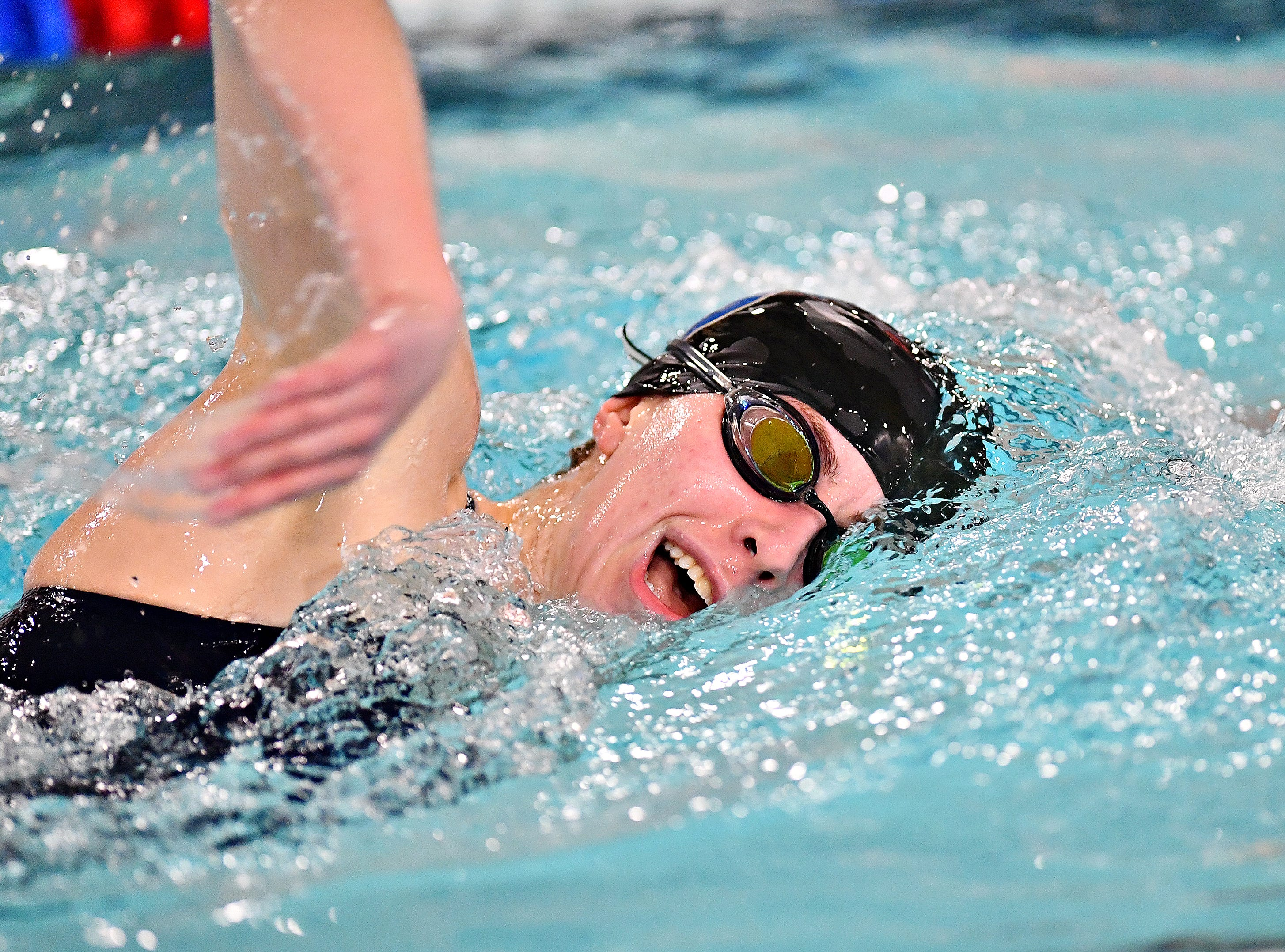 Dallastown's Kathryn Deitch competes in the 500 Yard Freestyle event during swimming action against Central York at Dallastown Area High School in York Township, Thursday, Jan. 10, 2019. Dawn J. Sagert photo
