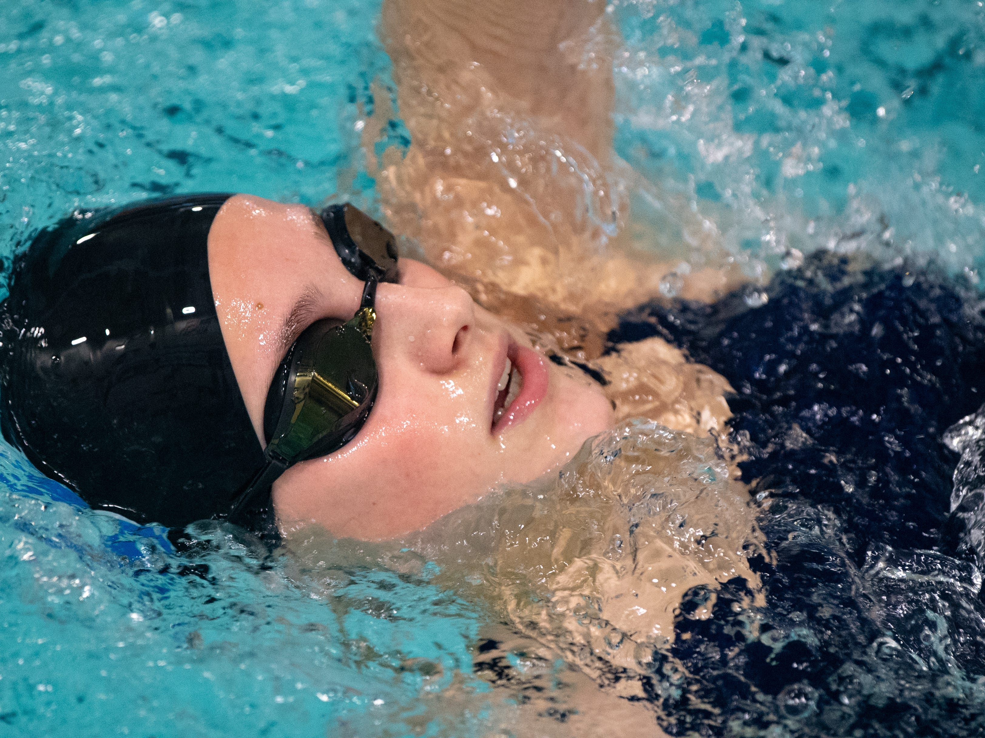 Katherine O'Rourke of Dallastown keeps pace with her opponents during the boys' and girls' swim meet between Dallastown and Central York. The Panthers defeated the Wildcats 93 to 77 and the Lady Panthers defeated the Lady Wildcats 96 to 74.