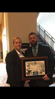 Tiffany and Kyle Pitts, on Aug. 1, 2018, when the State Fraternal Order of Police awarded Kyle a valor award. Kyle Pitts was shot on Jan. 18, 2018, while serving a warrant in Harrisburg with the U.S. marshals.