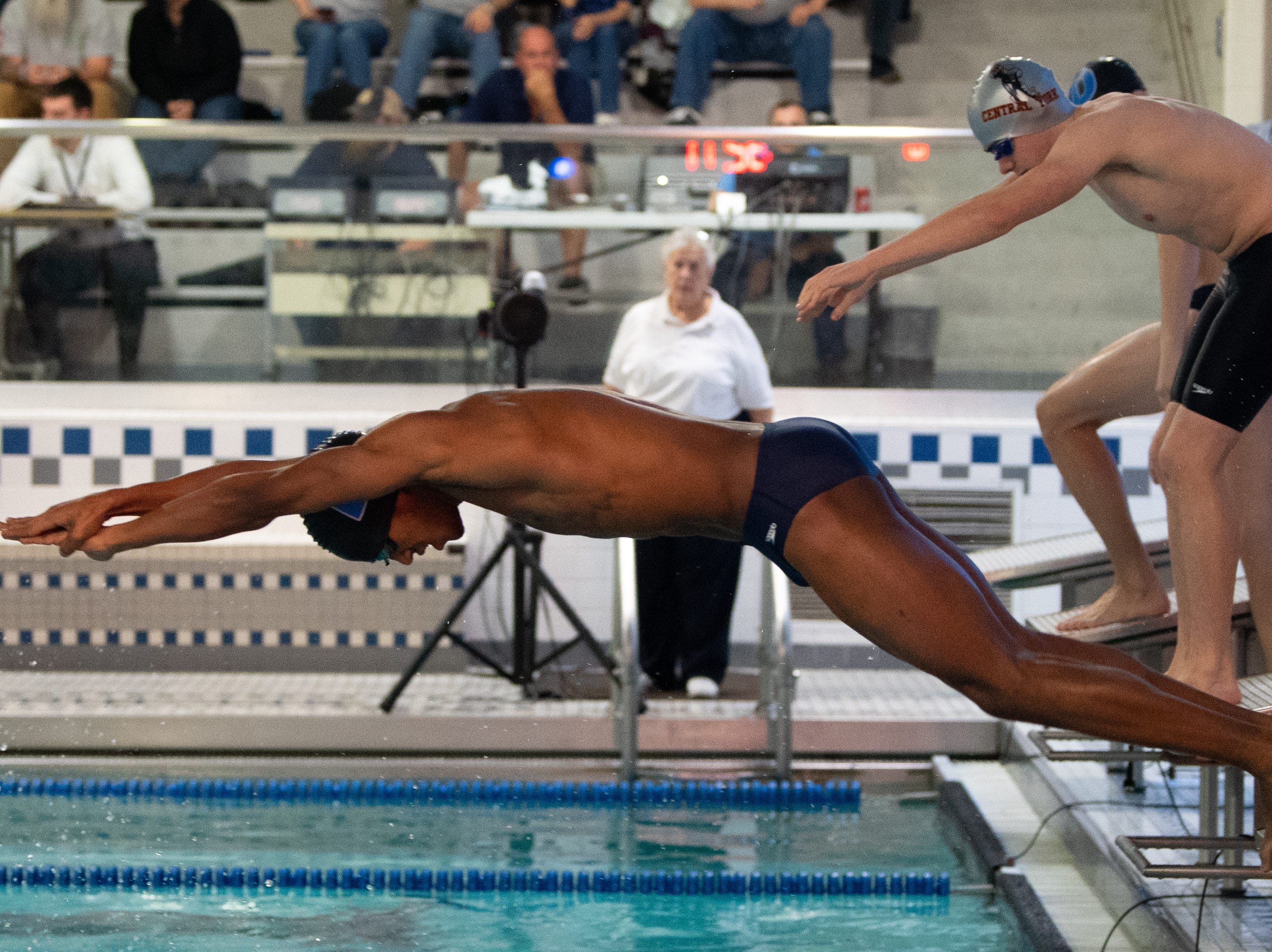 Jaden Rivera looks to maintain the lead during the boys' and girls' swim meet between Dallastown and Central York at Dallastown Area High School, January 10, 2019. The Panthers defeated the Wildcats 93 to 77 and the Lady Panthers defeated the Lady Wildcats 96 to 74.